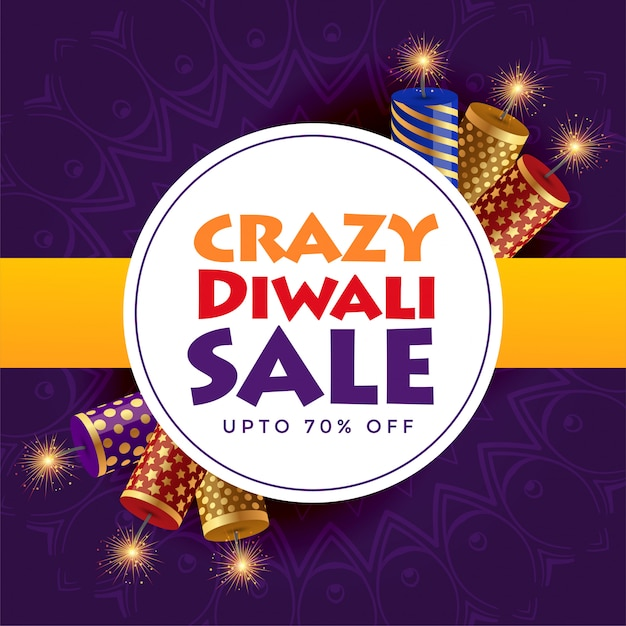 Crazy diwali sale poster design with crackers Free Vector