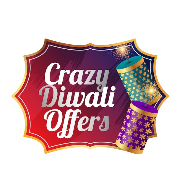 Crazy diwali sale template design with cracker Free Vector