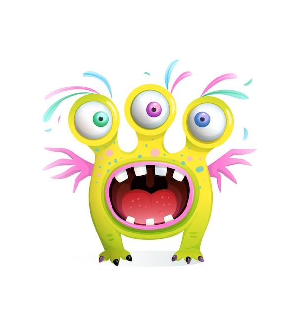 3つの目と翼を持つ子供のためのクレイジーな面白いモンスターの生き物、歯で大きく開いた口を叫びます。子供のための3dスタイルの漫画。 Premiumベクター