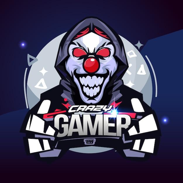 Crazy gamer. joker gamer concept. e-sport logo - vector illustration Premium Vector