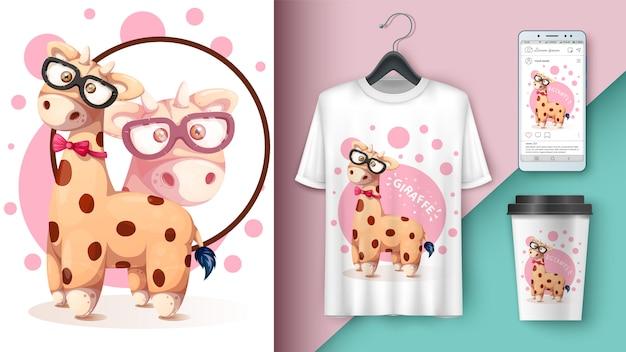 Crazy giraffe - mockup for your idea. Premium Vector