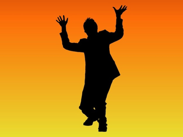 Crazy man dancing silhouette vector