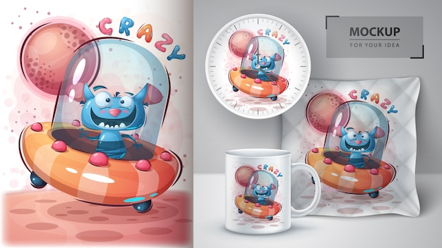 Crazy monster poster and merchandising Free Vector