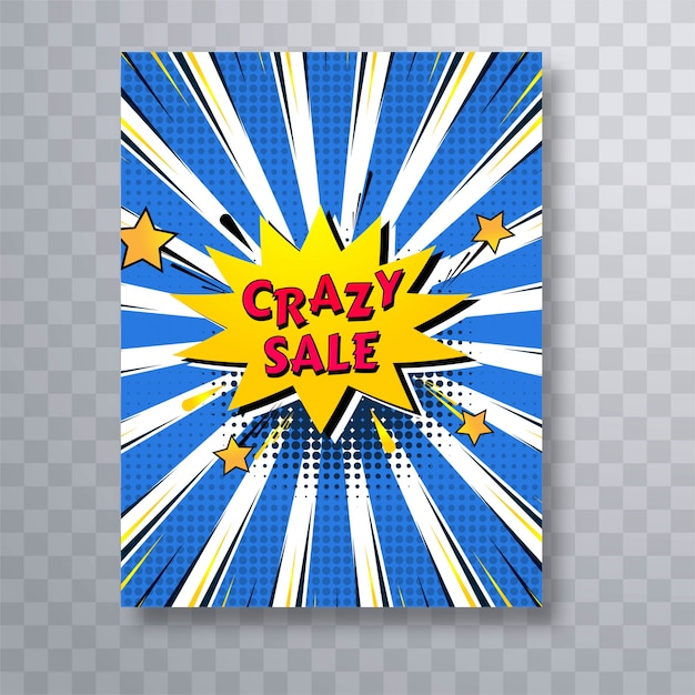 crazy sale comic book colorful pop art brochure template vector