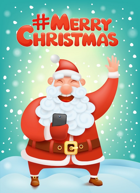 Crazy santa claus cartoon character making selphie hashtag merry christmas Premium Vector