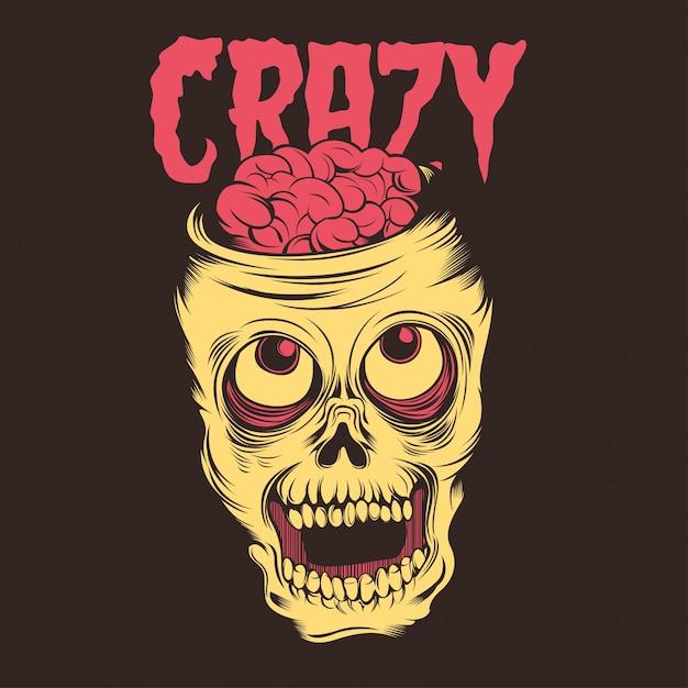 Crazy Skull Premium Vector
