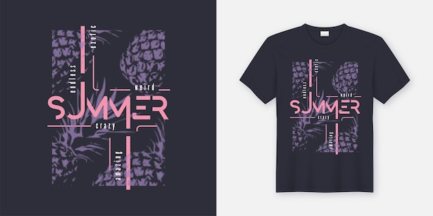 クレイジーな夏のtシャツとアパレルのモダンなデザイン。スタイルのパイナップル、タイポグラフィ、プリント、イラスト。 Premiumベクター