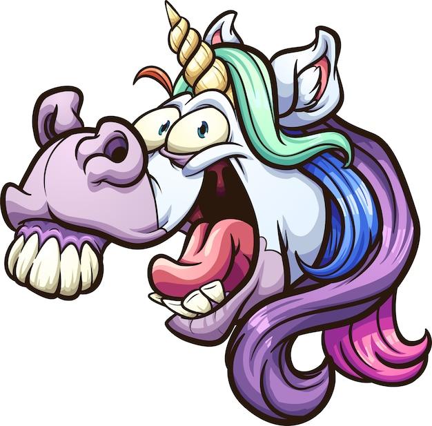 Crazy unicorn Premium Vector