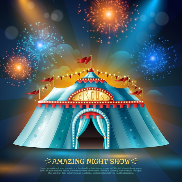 Crcus tent night background poster Free Vector