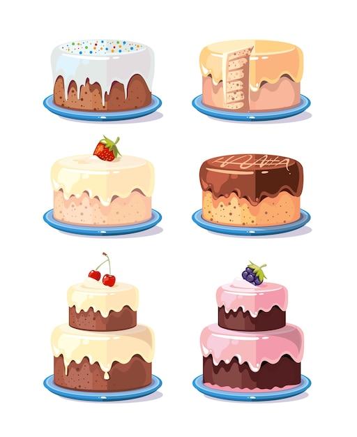 Cream cake tasty cakes vector set in cartoon style Premium Vector