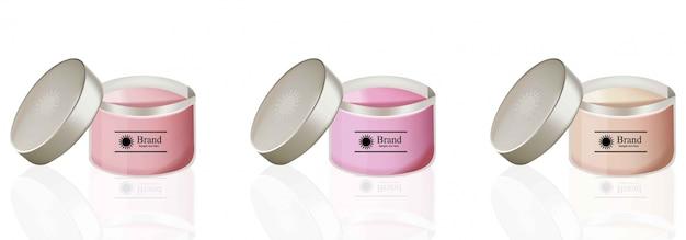 Cream cosmetics set vector realistic mock up. hydration cream bottle Premium Vector