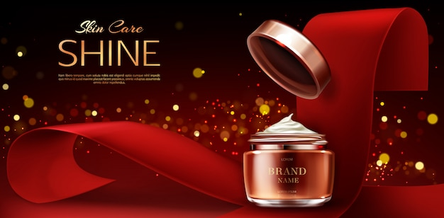 Cream jar, cosmetics skin care product on red Free Vector