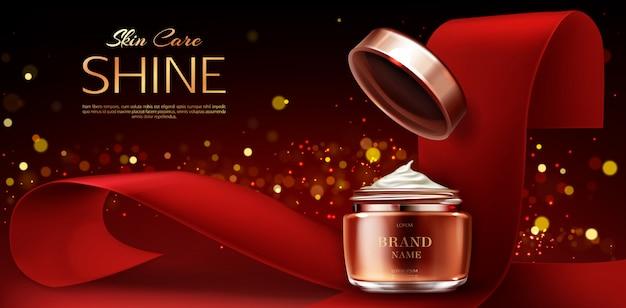Vasetto di crema, prodotti per la cura della pelle cosmetici su rosso Vettore gratuito