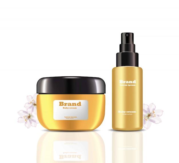 Cream and lotion cosmetics set vector realistic mock up Premium Vector