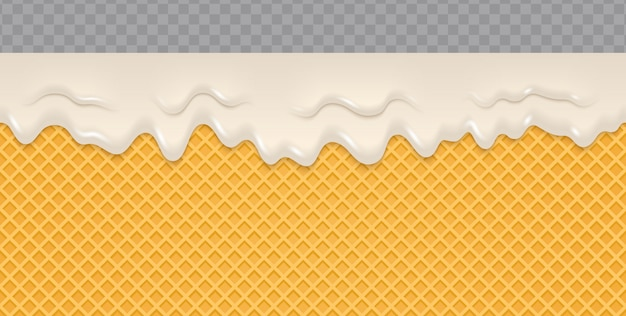Cream melted on wafer background. Premium Vector