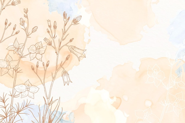 Cream powder pastel with hand drawn flowers background Free Vector