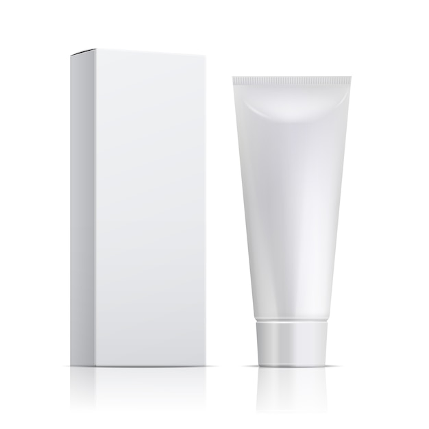 Cream Tube And Packaging Ointment Or Toothpaste Box Premium Vector