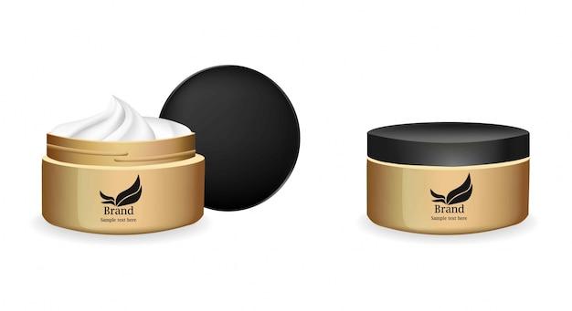 Cream vector реалистичная косметика. дизайн этикетки продуктов Premium векторы