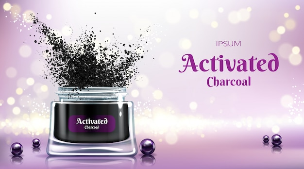 Cream with activated charcoal 3d vector banner Free Vector