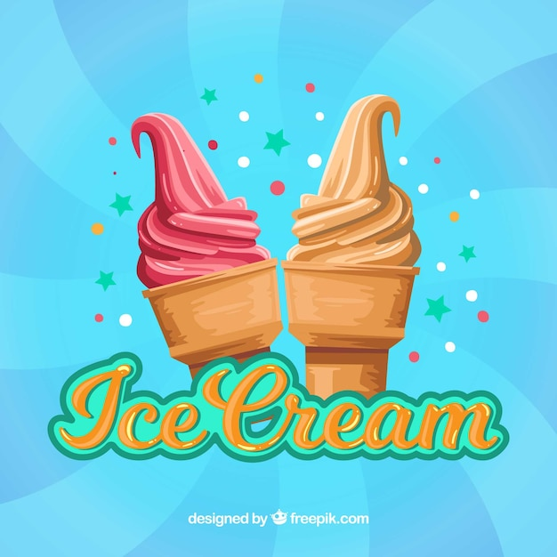 Ice Cream Images Ice Creams Wallpaper And Background: Creamy Ice Cream Blue Background Vector