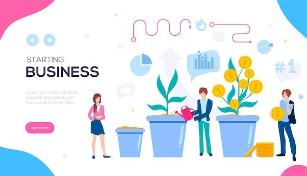 Создайте бизнес-баннер. идеи для открытия бизнеса. Premium векторы