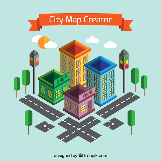 Create A City Map In Isometric View Vector Free Download