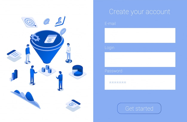 Create account promotion for increase sales funnel Premium Vector