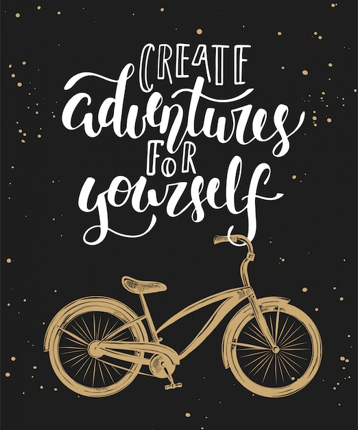 Create adventures for yourself with bicycle Premium Vector