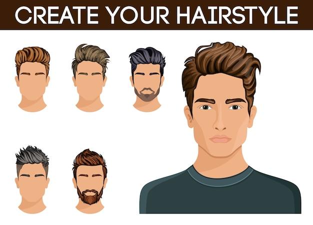 Create, change hairstyles. men hair style hipster beard, mustache men stylish, modern. Premium Vector