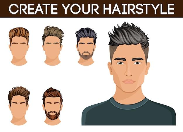 Create, change hairstyles. men hair style hipster beard, mustache stylish, modern. Premium Vector