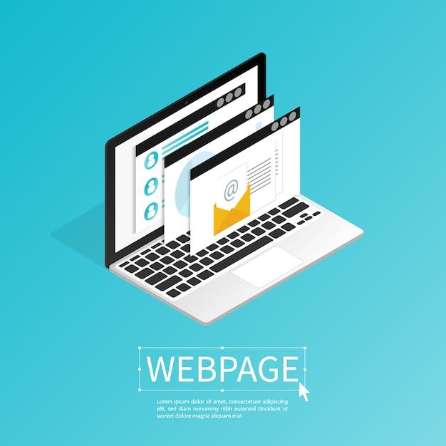 Create website webpage design computer isometric flat vector Premium Vector