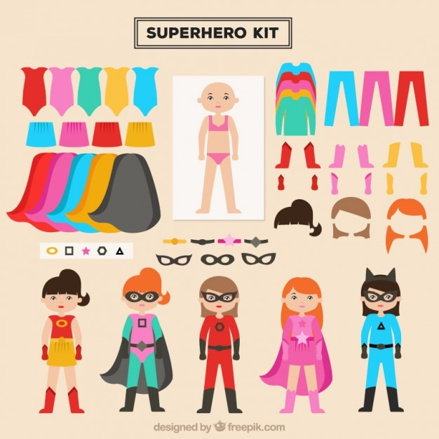 Create your heroine with this kit Free Vector