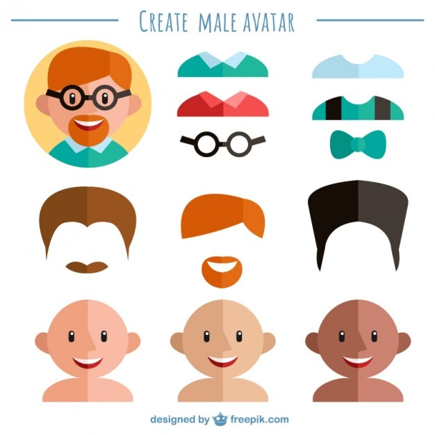 Create your male avatar Vector | Free Download - photo#33