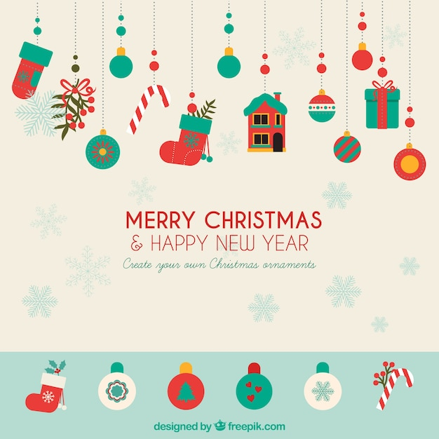 create your own christmas ornaments free vector - Merry Christmas Decorations