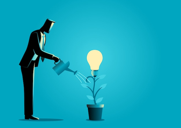Creating ideas from a plant Premium Vector