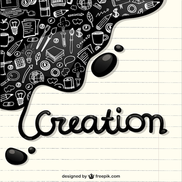 Creation icons in a notebook paper Free Vector