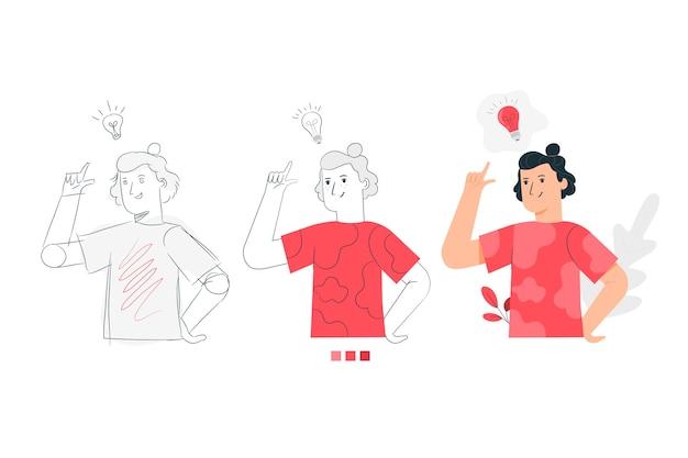 Иллюстрация концепции процесса создания Бесплатные векторы