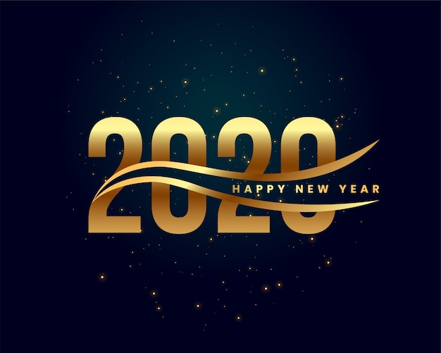 Creative 2020 happy new year golden background Free Vector