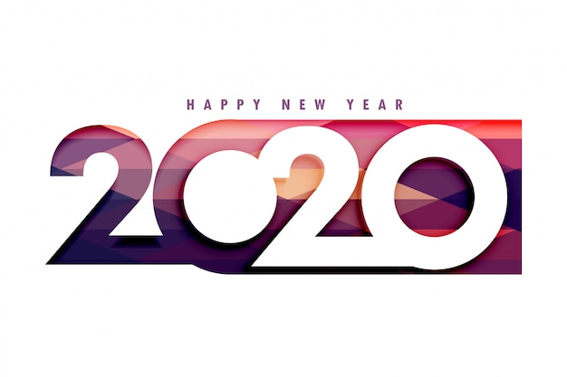 Creative 2020 happy new year stylish Free Vector