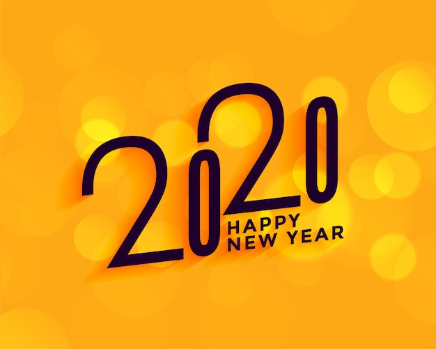 Creative 2020 happy new year on yellow background Free Vector