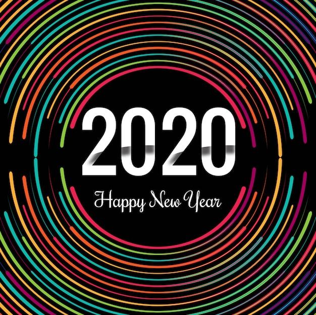 Шаблон текстовой поздравительной открытки новый год creative 2020 Бесплатные векторы