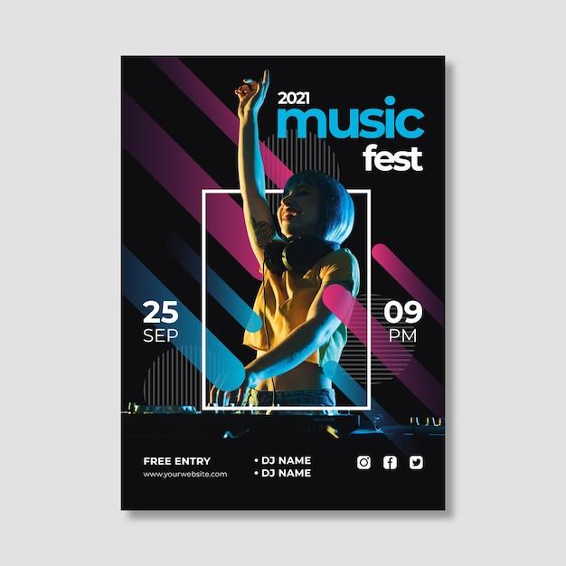 Шаблон плаката музыкального события creative 2021 Бесплатные векторы