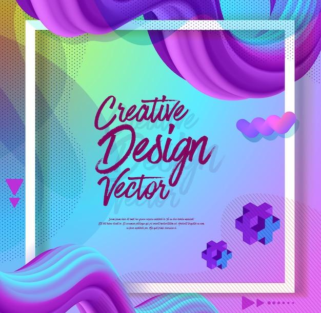 Creative 3d flow poster design abstract background Premium Vector