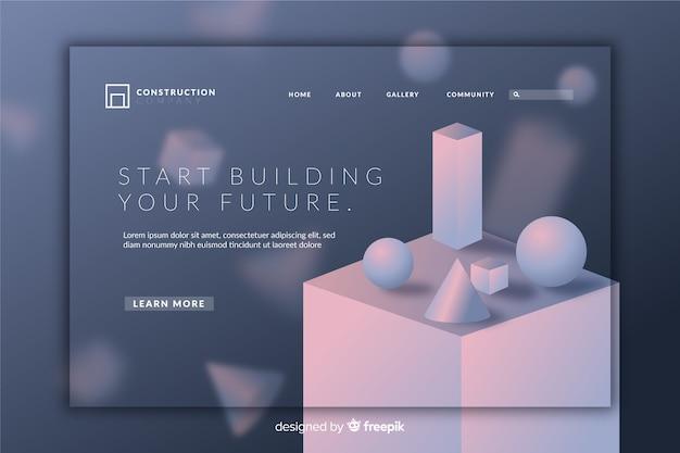 Creative 3d geometric landing page Free Vector