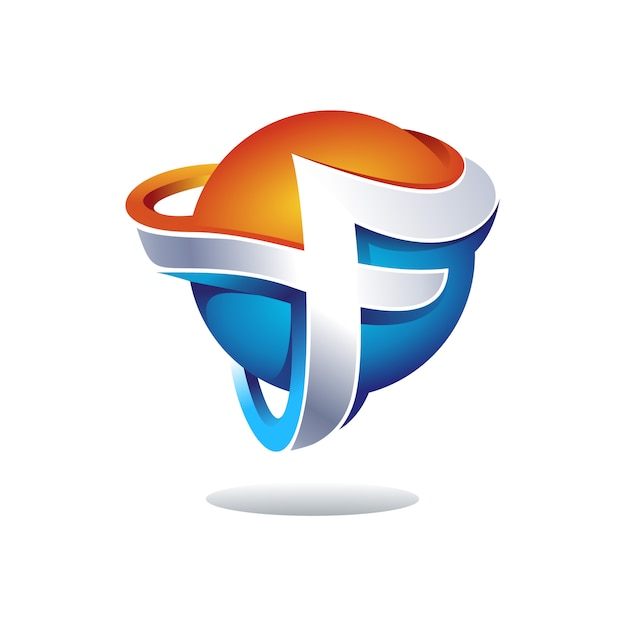 Creative 3d letter f logo design Premium Vector