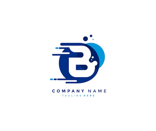 Creative abstract blue color dots initial letter b fast logo Premium Vector