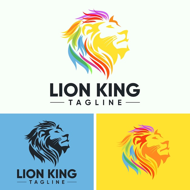 Creative abstract colorful lion head logo Premium Vector