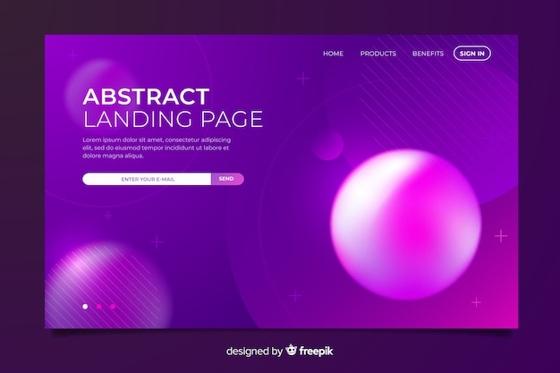 Creative abstract landing page with memphis elements Free Vector