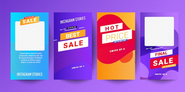 Creative abstract modern graphic stories sets. template set with liquid modern gradient banners Premium Vector