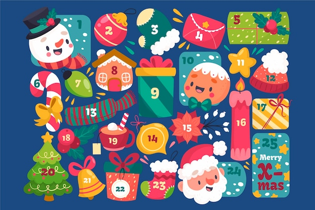Creative advent calendar with festive elements Free Vector